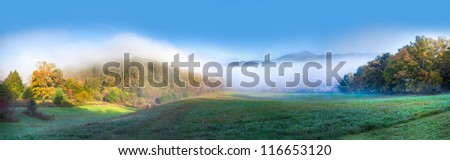 Scenic panorama in Cades Cove in Smokey mountains national park in autumn - stock photo