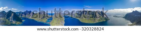 Scenic panorama of beautiful fjords on Lofoten islands in Norway - stock photo