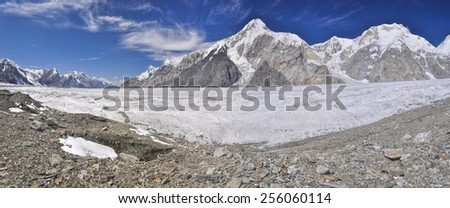 Scenic panorama of Engilchek glacier in picturesque Tian Shan mountain range in Kyrgyzstan