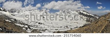 Scenic panorama of Himalayas near Kanchenjunga in Nepal - stock photo