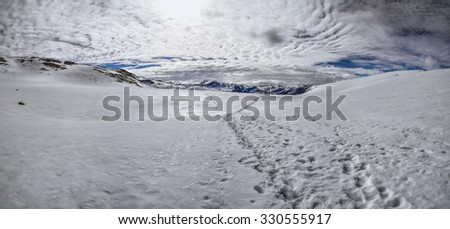 Scenic panorama of snowy landscape near Trolltunga in Norway
