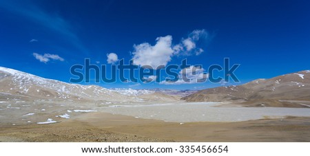 Scenic panorama of the Himalayan Mountains agsint a clear blue sky in Tibet province. China - stock photo