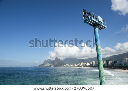 Scenic panoramic view of Ipanema Beach and Two Brothers Mountain from Arpoador with Rio de Janeiro skyline Brazil
