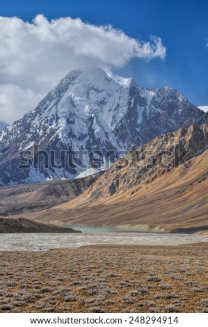 Scenic peak in Pamir mountains in Tajikistan - stock photo