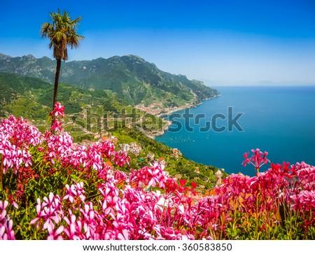 Scenic picture-postcard view of famous Amalfi Coast with Gulf of Salerno from Villa Rufolo gardens in Ravello, Campania, Italy - stock photo