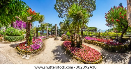 Scenic picture-postcard view of famous Villa Rufolo gardens in Ravello at Amalfi Coast with Gulf of Salerno, Campania, Italy - stock photo