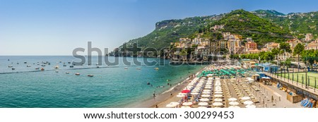 Scenic picture-postcard view of the beautiful town of Minori at famous Amalfi Coast with Gulf of Salerno, Campania, Italy