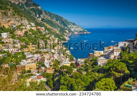Scenic picture-postcard view of the town of Positano at famous Amalfi Coast with Gulf of Salerno in beautiful evening light, Campania, Italy