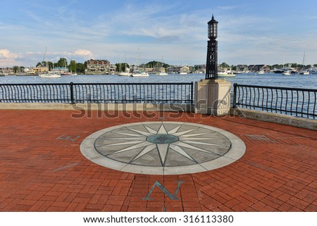 scenic point overlooking annapolis harbor at united states naval academy - stock photo