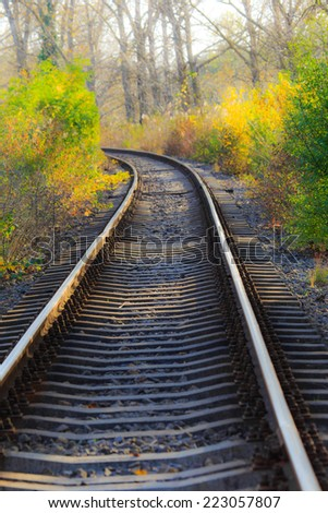Scenic railroad in autumn in remote rural area