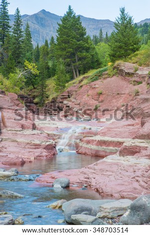 Scenic Red Rock Canyon Waterton National Park Alberta Canada - stock photo