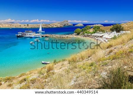 scenic Rhodes island, Lindos bay and beach. Greece - stock photo