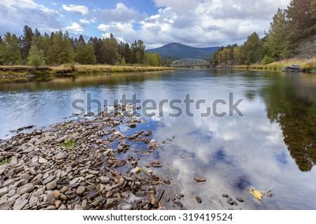 Scenic river in Cataldo, Idaho. - stock photo