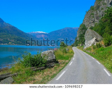 Scenic road and beautiful mountains in Norway