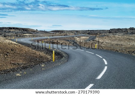 Scenic road in Iceland on a clear day - stock photo