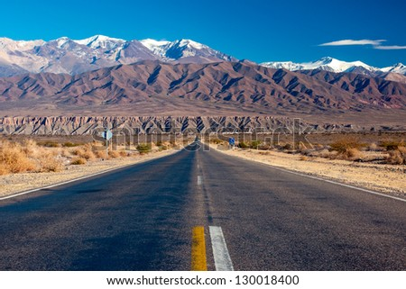 Scenic road in northern Argentina - stock photo