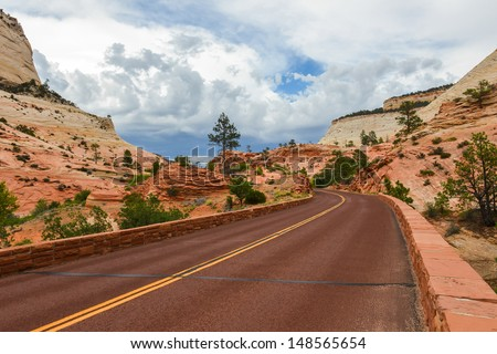 Scenic road through Zion national park.utah - stock photo