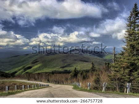 Scenic Road to Mount Equinox in Bennington, Vermont - stock photo