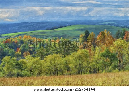 Scenic Rolling Hill Landscape in Elk County, Pennsylvania - stock photo