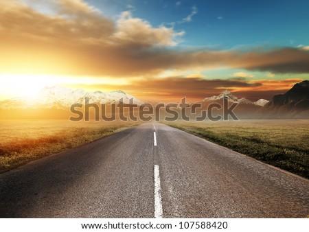 Scenic Route Through the Mountains. - stock photo