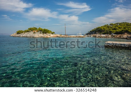 Scenic Seafront and the beach near  town of Scala, Agistri Island,  Greece