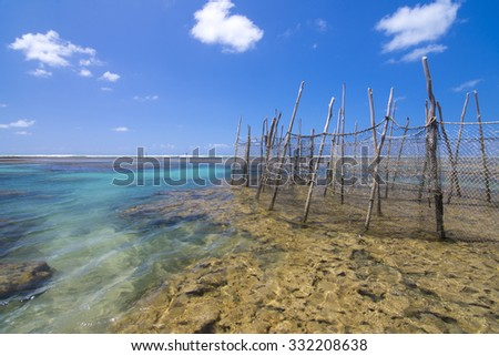 Scenic seascape of shallow coral reefs at low tide with traditional fish trap nets under clear sunny sky in Maceio, Alagoas, Brazil - stock photo