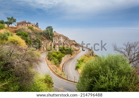Scenic serpantine road to Forza d'Agro - stock photo
