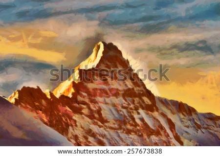 Scenic Sharp Peak Mountain at Dawn - stock photo