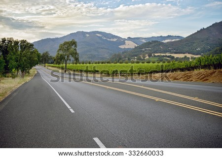 Scenic shots along Highway 12, Valley of the Moon wine region