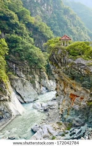 Scenic spot at Chang Chun Shrine, Taroko National Park. Taiwan. - stock photo