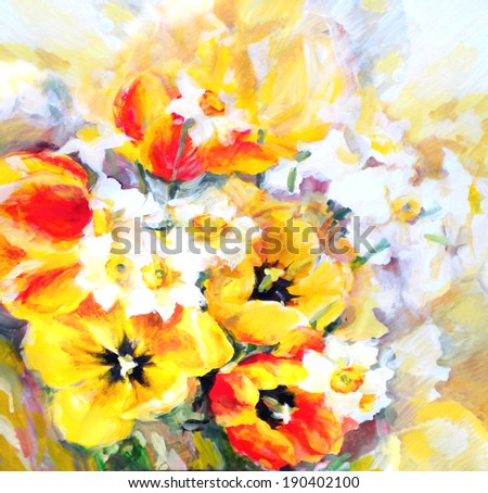 Scenic spring colored bouquet with yellow and red tulips and delicate white narcissus.Tempera painting on paper.