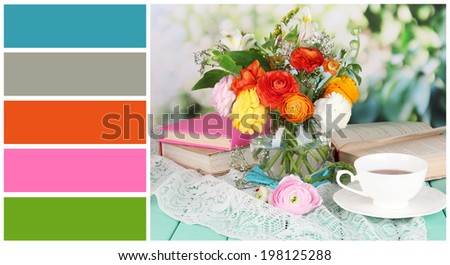 Scenic still life of flowers buttercups. Color palette with complimentary swatches - stock photo