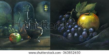 scenic still life of fruit, fruit, apple, orange, , grapes - stock photo