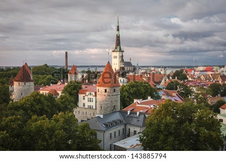 Scenic summer aerial panorama of Tallinn, Estonia - stock photo