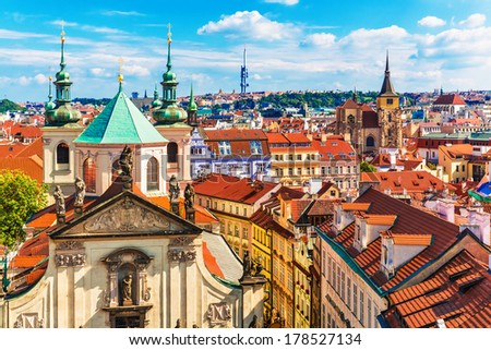Scenic summer aerial panorama of the Old Town architecture in Prague, Czech Republic - stock photo