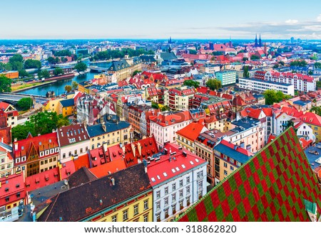 Scenic summer aerial panorama of the Old Town architecture in Wroclaw, Poland - stock photo