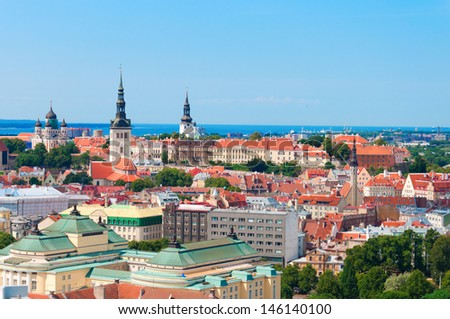 Scenic summer aerial panorama of the Old Town in Tallinn, Estonia. - stock photo