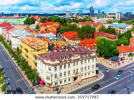 Scenic summer aerial view of the Old Town architecture buildings in Vilnius, Lithuania