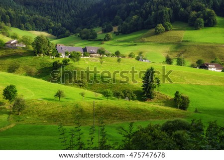 Scenic summer background: green mountain landscape with old traditional houses. Germany, Black Forest