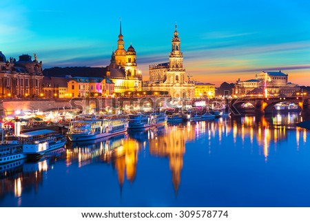 Scenic summer evening view of the Old Town architecture with Elbe river embankment in Dresden, Saxony, Germany - stock photo