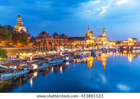 Scenic summer evening view of the Old Town architecture with Elbe river embankment in Dresden, Saxony, Germany