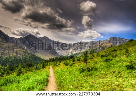 Scenic summer mountain hiking landscapes of Ptarmigan Cirque, Peter Lougheed Provincial Park Kananaskis Country Alberta Canada - stock photo
