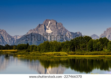 Scenic summer mountain landscapes of Grand Teton National Park Wyoming, USA - stock photo