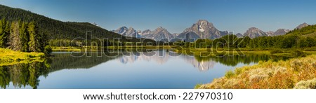 Scenic summer mountain landscapes of Grand Teton National Park Wyoming, USA