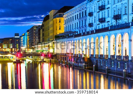 Scenic summer night view of the Old Town architecture in Hamburg, Germany - stock photo
