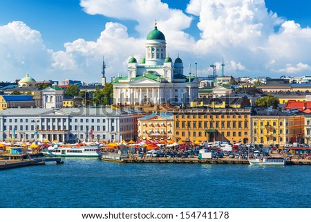 Scenic summer panorama of the Market Square (Kauppatori) at the Old Town pier in Helsinki, Finland - stock photo