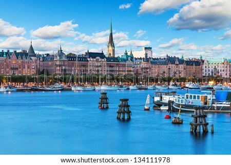 Scenic summer scenery of the Old Town in Stockholm, Sweden - stock photo