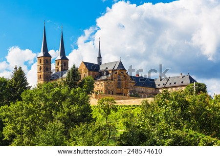 Scenic summer view of ancient St. Michael's Church of Michaelsberg Abbey in Bamberg, Bavaria, Germany - stock photo