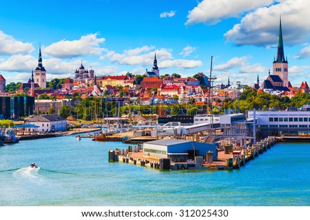 Scenic summer view of the Old Town and sea port harbor in Tallinn, Estonia - stock photo