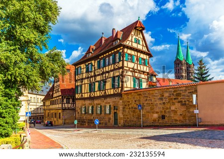 Scenic summer view of the Old Town architecture in Bamberg, Bavaria, Germany - stock photo